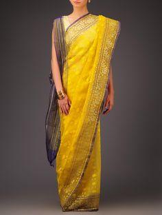 Buy Mustard Yellow Blue Cotton Jamdani Saree Sarees Woven Wondrous Ethereal Dhakai Online at Jaypore.com