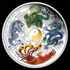 This huge and dramatic 5 ounce pure silver special edition depicts the four Ancient Chinese Mythical Creatures of legend - the white tiger, red phoenix, blue dragon and black tortoise (as well as a gilded Yin and Yang in gold plating) ! Arte Yin Yang, Ying Y Yang, Yin Yang Art, Mythological Creatures, Mythical Creatures, Arrow Tattoo, Yin Yang Tattoos, Chinese Dragon Tattoos, Chinese Mythology