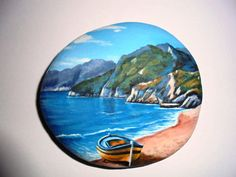 Painted stone landscape beach with  fishing boat by Lefteris Kanetis