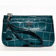"COACH Madison Embossed Croc Leather Medium Wristlet Bag Purse - Teal 46630 COACH MADISON EMBOSSED CROC MEDIUM WRISTLET. style no : 46630. color : qb/teal. material : croc embossed leather. approx measure : 7.25"" (L) x 4.5"" (H) x 1.5"" (W). Click Pic for More Info"