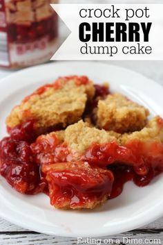 Crock pot cherry dump cake is easy to make
