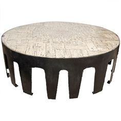 Pia Manu White Stone Mosaic Table with Steel Base, Belgium, circa 1964 | From a unique collection of antique and modern coffee and cocktail tables at https://www.1stdibs.com/furniture/tables/coffee-tables-cocktail-tables/