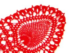 Red hand dyed oval Crochet Vintage Doily