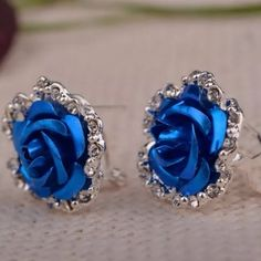 Very Pretty Crystal Enamel Rose Earrings These beauties are pierced. Very Comfortable and Easy to wear! Not tiny studs. Jewelry Earrings