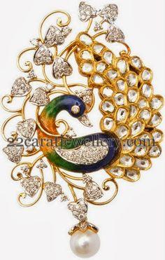 Jewellery Designs: Diamond Peacock Enamel Pendant