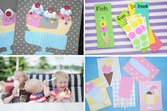 Ice cream theme projects- words/letters on price stickers