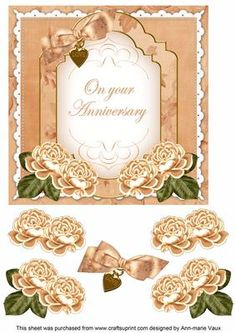 Peach Rose Anniversary Fancy 7in Decoupage Topper on Craftsuprint - Add To Basket!