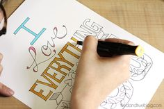 I Love Everything Free Printable from Tried & True - you color it in however you want! So cute.