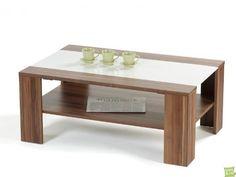 Agionda ® Couchtisch Adventure 12 Nussbaum dunkel mit weisser Glaseinlage (nussbaum, 11o cm)