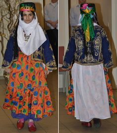 Traditional Kurdish holiday/festive attire from the Diyarbakır region. 2nd half of 20th century (and still in vogue). The long robe is made of printed cotton. The long-sleeved vest is reversible: one side adorned with patchwork (hidden on this picture), the other side embellished with 'goldwork' embroidery in 'tuturma' technique. (Kavak Folklor Ekibi & Costume Collection-Antwerpen/Belgium).