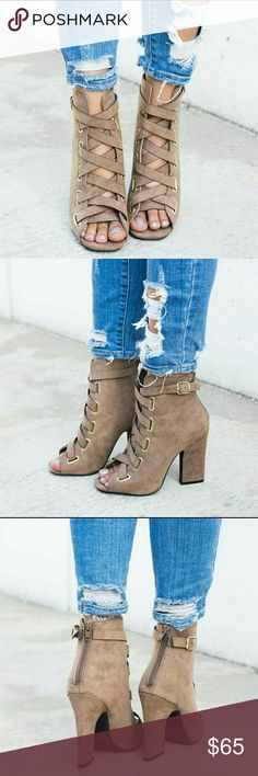 Taupe Lace Up Suede Booties Taupe Lace Up Faux Suede Booties   Go down half a size from your usual.   ● PRICE IS FIRM ● Shoes Ankle Boots & Booties