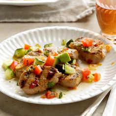 Grilled Pork with Avocado Salsa Recipe -I love the zesty taste of this moist grilled tenderloin. The cumin, avocado and jalapeno give it Southwestern flair. It's an easy, elegant way to prepare pork. Low Salt Recipes, Low Sodium Recipes, Pork Recipes, Cooking Recipes, Free Recipes, Sodium Foods, Turkey Recipes, Easy Recipes, Sauces