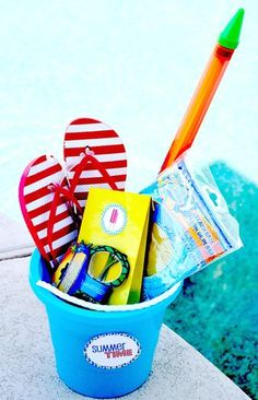 Pool Party Favor Pails. Love the flip flops as favors, beach ball, ect.