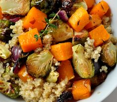 Warm quinoa and roasted veggie salad.