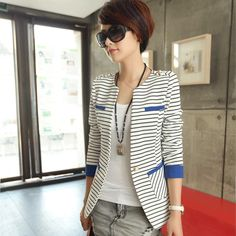 Chaquetas Mujer Spandex Direct Selling Blaser Feminino 2014 Autumn Women's Suit Stripe Slim Long-sleeve Female Blazer Outerwear US $15.88
