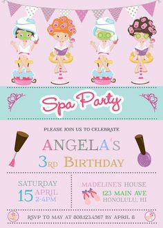 65 Ideas for birthday cake girls teenager spas Spa Party Invitations, Personalized Invitations, Printable Invitations, Party Printables, Birthday Invitations, Spas, Birthday Cake Girls Teenager, Spa Birthday Parties, Bachelorette Parties