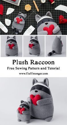 Free Raccoon Sewing Patterns and Tutorial from Fluffmong Kostenlose Waschbär Schnittmuster und Tutorial von Fluffmonger – Gefüllte Waschbär … – Diyprojectgardens.club Free Raccoon Sewing Patterns and Tutorial from Fluffmonger – Stuffed Raccoon … - Sewing Patterns Free, Free Sewing, Pattern Sewing, Free Pattern, Doorstop Pattern Free, Free Knitting, Sewing Paterns, Softie Pattern, Fun Patterns