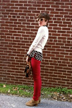 Red jeans and big chambray shirt--a little too big, but good color ...