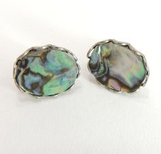 Sterling Silver Abalone Shell Earrings by EstateHeirlooms on Etsy