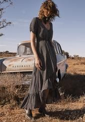 Delilah Maxi Dress Penelope Polka Black | AUGUSTE