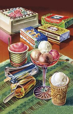 Venison Jello, 'Mystery Ingredients,' and Other Triumphs of Soviet Cuisine Retro Recipes, Vintage Recipes, Illustration Dessert, Vintage Food Posters, Vintage Ice Cream, Russian Recipes, Food Drawing, Venison, Food Illustrations