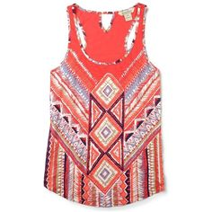 Lucky Brand Aztec Chevron Tank ($12) ❤ liked on Polyvore featuring tops, shirts, tank tops, tanks, red multi, aztec shirt, chevron top, aztec design shirts, red tank top and aztec tank