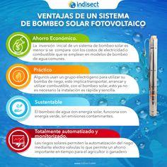 El ahorro economico es uno de los beneficios de las bombas solares. Bombeo Solar, Drinking Water, Solar Panels, Solar Power, Bombshells, Initials, Innovative Products