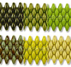 Cristal Checo - Superduo - 2,5x5mm - Mix Olive Olivine Olivinum 12 (60 gr.) - Beads Perles Boutique. Top row: Metallic Green, Pastel Olivine, Opaque Lime Green. Bottom row: Opaque Luster Olivine Green, Opaque Olivine, Pastel Jonquil.