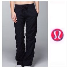 """Lululemon black studio long pants Worn probably just 3-4 times. Inseam is 33"""" long. They are unlined.                                          j lululemon athletica Pants"""
