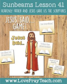 """""""Heavenly Father and Jesus Gave us The Scriptures"""" Primary 1 Sunbeams Lesson Helps including printables, coloring pages, game idea, scripture booklets and more!"""