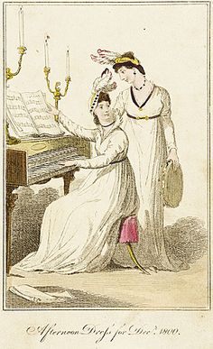 Ladies' Museum (?), Afternoon Dress for December 1800.  Careful with that feather/candle combination, ladies!