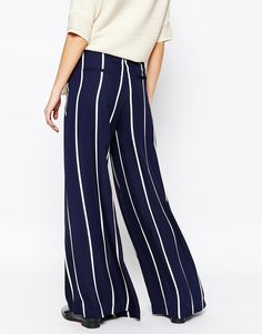 Wide leg trousers with stripes