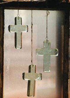 recycled glass crosses