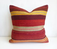 Colorful Kilim Pillow Cover with Stripes - Sophie's Bazaar  - 1