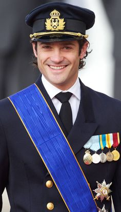 Prince Carl-Philip of Sweden at the wedding of Guillaume and Stephanie of Luxembourg