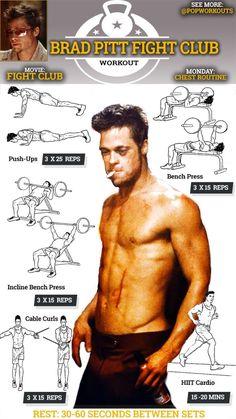 Brad Pitt Workout Chart Fight Club Chest Routine is part of Fight club workout - Fitness Workouts, Pop Workouts, Fitness Diet, Workout Routines, Back Routine, Chest Routine, Celebrity Fitness, Celebrity Workout, Brad Pitt Workout