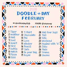 Join in for the February Doodle a Day challenge! Doodle along to each day's prompt using your own creative freedom.