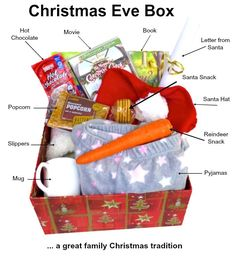 Christmas Eve box filled with children's favorite gifts, is the tradition of every year. Christmas Eve box is usually made of a small box or crate, which is the special expectation of the night before Christmas. When Christmas comes, we must carefull Its Christmas Eve, Holiday Fun, Christmas Holidays, Christmas Decorations, Christmas Eve Box Ideas Kids, Christmas Christmas, Diy Christmas Gifts For Family, Kids Christmas Presents, Christmas Gift Boxes