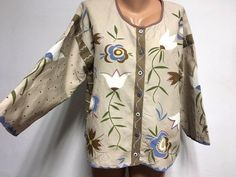 GUDRUN SJODEN size L / XL 100% LINEN Flower Printed Jacket Multicolored Beige in Clothes, Shoes & Accessories, Women's Clothing, Coats & Jackets | eBay!