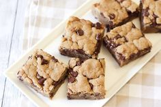 Chocolate Chip Peanut Butter Cookie Bars- vegan, gluten free, dairy free. @sarahbakes