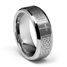 8MM Wellingsale LUXE Series Comfort Fit Wedding Band Ring with Laser Etched Engraved Tribal Celtic Infinity Braid Pattern, Diamond Beveled Edges and Gothic Cross in Brushed and Polished Finish for Men and Women Size - 11.5. Enjoy your jewelry, scratch and blemish free... Tungsten Carbide is one of the most scratch resistant materials known to man**. Heavy in weight, extremely scratch resistance, and excellent value for money... Order yours today or browse our fine selection of Tungsten...