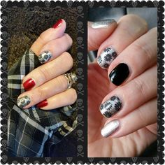 Last week's mani w/ red..same wraps this week w/ black & silver! I ❤ Jamberry! #jamberry #nailart #black #silver #fancy #nailspiration #mixedmani #love #notd #jamberryaddict #unique #prettynails #mani #holidays #saturdaynight #fun #love #ootd #nailwraps #funnails #treatyourself #fashion #style #color #colour