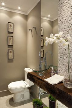 Half bathroom may be smaller than their full-fledged equivalents, however that does not mean you need to sacrifice on storage or design. Produce a elegant and also useful half bathroom with ideas from these beautiful half bathroom ideas. Wc Decoration, Glass Sink, Beautiful Bathrooms, Bathroom Inspiration, Small Bathroom, Bathroom Ideas, Bathroom Designs, Bath Ideas, Zen Bathroom Decor