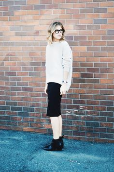 skirt + sweater with Celine glasses and an ombre long bob #work #outfit #streetstyle