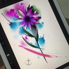泼墨花朵纹身手稿 泼墨菊花纹身手稿