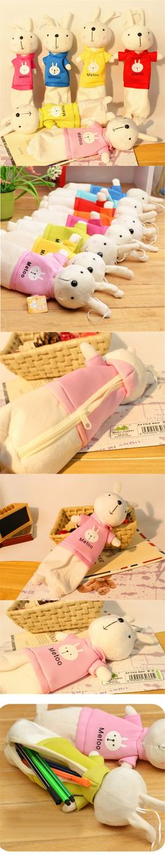New Cute Cartoon Kawaii Plush Pencil Case Creative Lovely Rabbit Pen Bag For Kids Gift School Supplies Free Shipping 132 $2.45