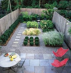 What a great backyard garden. I love that it is green, but there is no lawn to mow! Love the gravel and paving stones  | followpics.co