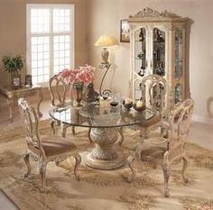 Florence, Florence Round Glass Pedestal Table Dining Room Set, Dining Room  Table Sets, Bedroom Furniture, Curio Cabinets And Solid Wood Furniture    Model ...