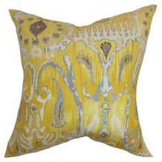 Cotton pillow with an ikat-inspired motif and down fill. Made in the USA.   Product: PillowConstruction Material: