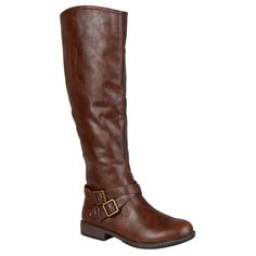 Journee Collection Women's 'April' Regular and Wide-calf Buckle Knee-high Riding Boot